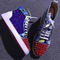 Cl Christian Louboutin Louis Spikes Style #1886 Sneakers Fashion Shoes