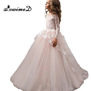 Pretty Flower Girl Pageant Dresses 2017 Butterfly Train Kids Graduation Gowns Tulle Lace Long Sleeves Holy Communion Dresses