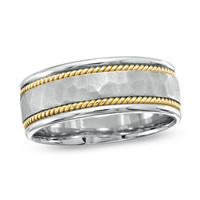 Men's 8.0mm Hammered Wedding Band in 14K Two-Tone Gold - Peoples Jewellers Men's 8.0mm Hammered Wedding Band in 14K Two-Tone Gold - - View All Rings - Peoples Jewellers