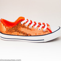 Orange Sequin Canvas All Star Low Top Sneakers Shoes