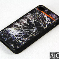 Camouflage broken iPhone 4 iPhone 4S Case, Black Rubber Material Case