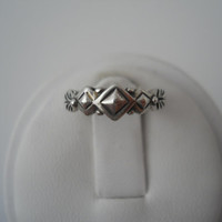 Sterling Silver 925 Toe Ring Size 2 Adjustable Diamond Shapes Arrows 925