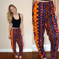 Awesome Vintage Colorful Tribal Pants Aztec Bohemian Long Pants Womens Medium Hipster Tumblr Harem Pants Funky Colorful