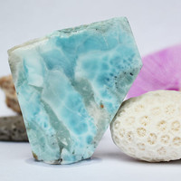 Dominican Bright Blue Sky Larimar 36g 180ct Slab Lapidary Cabbing Pectolite Rough Raw Slice Caribbean Beach Stone