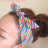 Rainbow Dolly Bow Headband