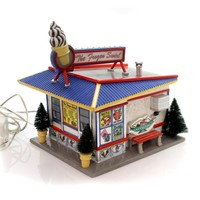 Department 56 House FROZEN SWIRL Ceramic Snow Village Retired Custard 55318