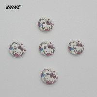 SHINE Wooden Sewing Buttons Scrapbooking Round Two Holes Hello Kitty 15mm Dia. 24 PCs Costura Botones Decorate bottoni botoes
