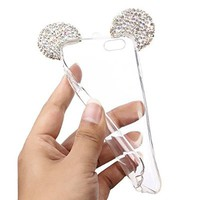 Iphone 6 plus case,Lovely Animal 3D glitter bling Mouse Ears with sparkly diamond clear soft rubber Case for Apple iphone 6 plus/6s plus)