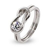 Silver-Tone Love Knot Ring