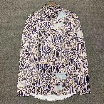 Dior embroidered letter long-sleeved shirt