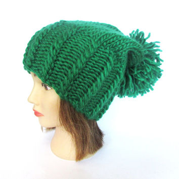 Bright green slouch hat chunky knit slouchy beanie hat Irish knit hat st patricks day hat with large pompom fun hat wool paddys day hat