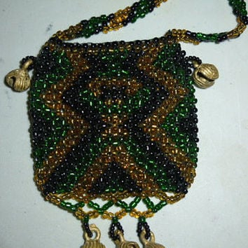 Vintage Beaded Bead Necklace Bag Pouch with Brass Bells Green Black Gold Tones