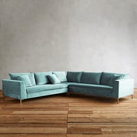 Slub Velvet Edlyn L-Shaped Sectional