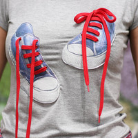 3D funny t shirt, T-shirts for women, Sneakers, Shirt tee, Street wear, Gift for her, Design t-shirt, Tops, Casual Short Sleeve T-Shirt