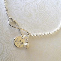 Infinity Best Friends Bracelet in Sterling Silver with BFF Charm and Swarovski Pearl Element--Gift for Best Friend