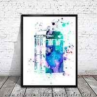 Doctor Who Tardis Watercolour Painting Print, watercolor painting, watercolor art, Illustration,Doctor Who Tardis poster, Doctor art