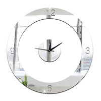 Home Decoration Wall Clock 3D Mirror Circle Sticking    silver