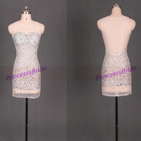 Short sexy homecoming dresses with crystals,2014 beaded gowns for graduation party,cheap women dress in handmade hot.