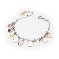 Beckids Religious Charm Bracelet Sterling Silver Milagrosa Virgin Pink Medals  Gold Crosses and Hearts