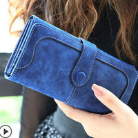 2014 autumn and winter in Europe and America new fashion retro matte solid stitching ladies long wallet wallet wallet