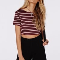 Missguided - Capped Sleeve Stripe Crop Top Burgundy