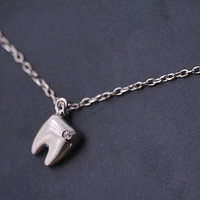 925 sterling silver Zircon tooth Necklace,simple sterling silver necklace, A delicate gift