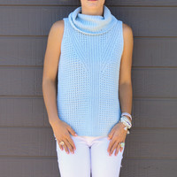 Wrapped In Warmth Baby Blue Crochet Knit Sleeveless Turtleneck Hi-Low Top