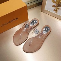 LV Louis Vuitton Popular Summer Women's Flats Men Slipper Sandals Shoes