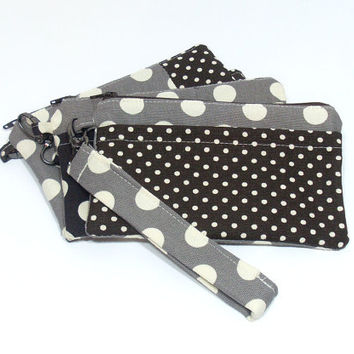 Brown Polka Dot Bag, Brown and Gray, Gray Polka Dots, Brown Clutch Bag, Cell Phone Wristlet, Phone Wallet Clutch, Clutch with Strap