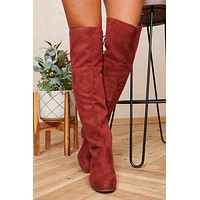 Breezy Mornings Thigh High Faux Suede Boots (Dark Rust)