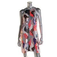 French Connection Womens Sequined Sleeveless Party Dress