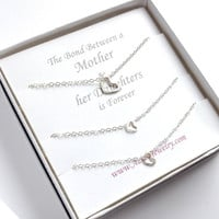 Matching Heart Necklaces. 1 Mother 2 Daughter Sterling Silver Heart Necklaces.