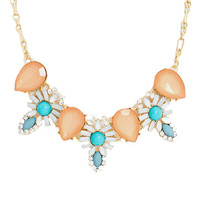 Floral Jeweled Bib Necklace in Peach