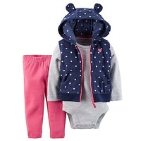 2016 New Fashion Baby Boy Clothes Winter Suit Newborn Baby Boy Winter Clothes Hooded Baby Girl Clothes 3Pcs Baby Clothing