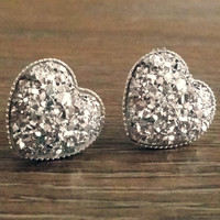 Druzy earrings- Silver heart drusy silver tone stud druzy earrings