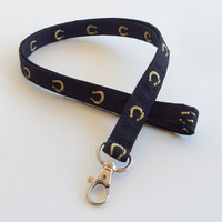 Horseshoe Lanyard / Horse Lovers / Horses Keychain / Key Lanyard / ID Badge Holder / Black and Gold / Horse Shoe / Veterinarian / Equestrian