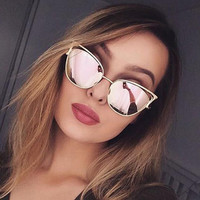 Cat Eye Female Sunglasses Women 2016 Rose Gold Matel Driving Cateye Glasses Retro Sexy Occhiali da sole Sunglases Lunette Femme