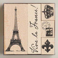 Eiffel Tower Stamps, Set of 5