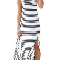 Monochrome Stripe Print Open Back Split Side Maxi Dress
