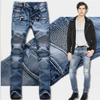 Men Slim Pants Jeans [264170078237]