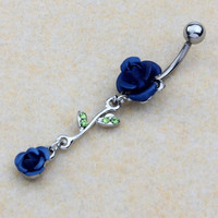 Double Roses Piercing Belly Button Navel Ring