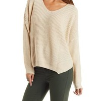 Slouchy V-Neck Pullover Sweater by Charlotte Russe