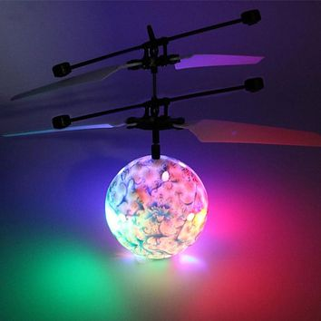 Blue and White RC Flying Balls Drone Helicopter Ball LED Lighting for Kids Toy-m15