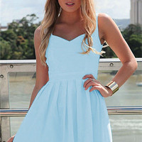 Sleeveless Sweetheart Neckline Cut-Out Back Pleated Mini Dress