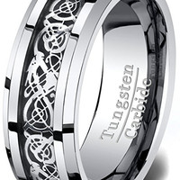 8mm Tungsten Carbide Ring Celtic Dragon Wedding Band