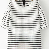 White Striped Short Sleeve Lace Up Blouse