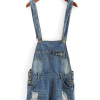 Jeans Distressed Rolled Hem Overall Denim Shorts