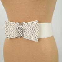 Ivory Braided Bow and Rhinestone Stretch Cinch Belt - Fashion belts