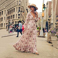 Women Fashion Simple Floral Multicolor Print Long Sleeve V-Neck Maxi Dress