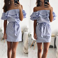 Best selling sexy strapless women's lotus leaf sleeve striped dress Blue